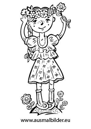 Ausmalbild Madchen Mit Blumen Blumen Ausmalbilder Ausmalen Ausmalbilder Madchen
