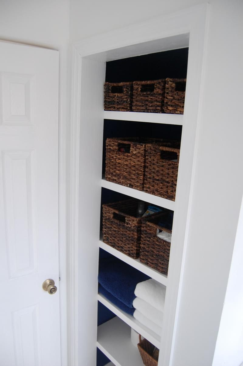 Build A Linen Closet With Floating Shelves