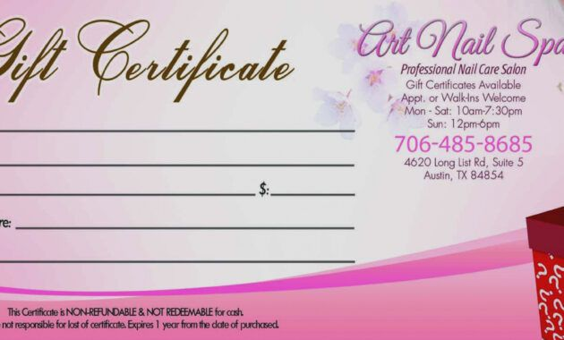 The Glamorous Gift Certificate Template For Nail Salon Within Salon Gift Cer Gift Certificate Template Spa Gift Certificate Christmas Gift Certificate Template