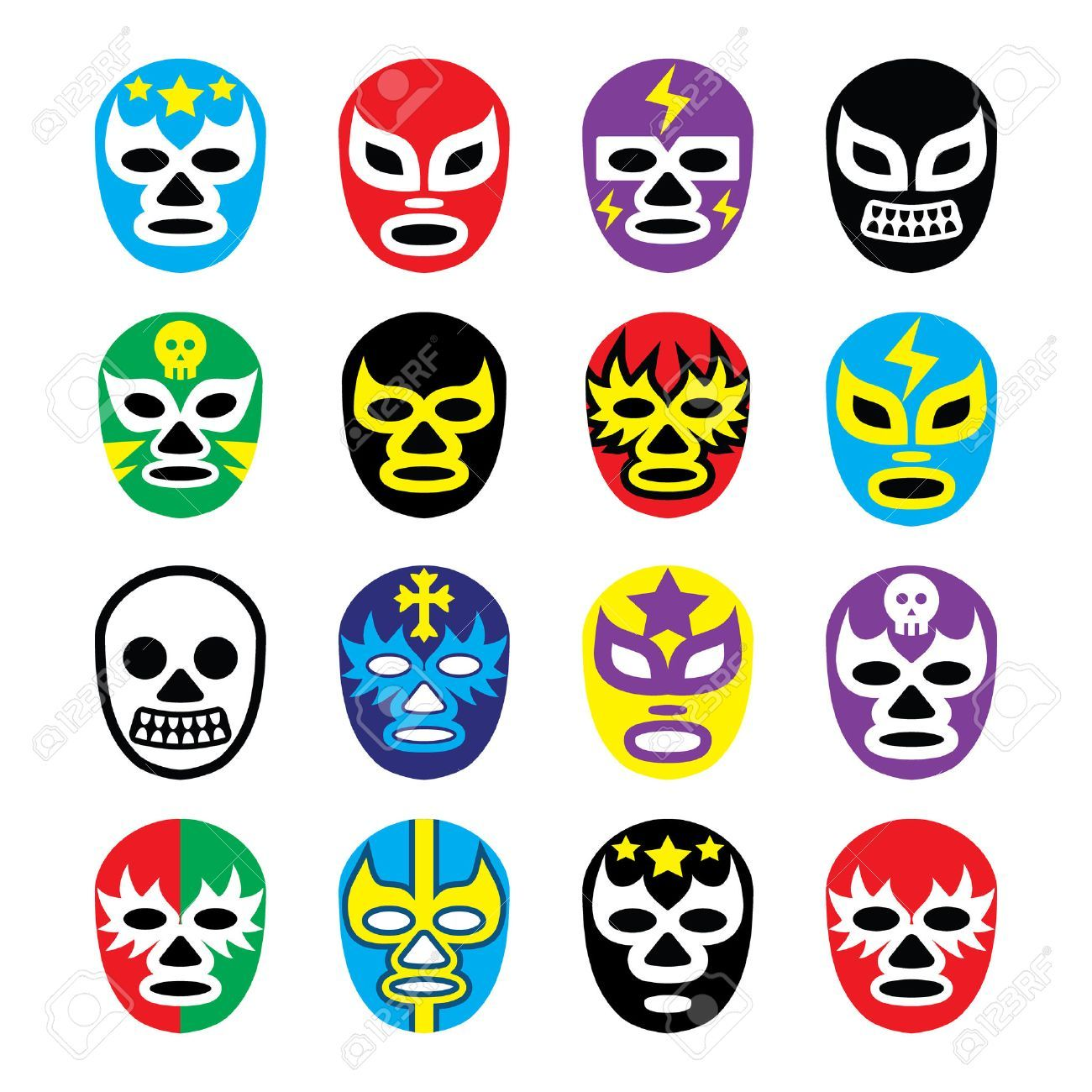 Mascaras De Lucha Libre Lucha Libre Mexicana Iconos Foto De Archivo 25462780 Mascaras De Luchadores Mexicanos Lucha Libre Mexicana Cumpleanos Lucha Libre