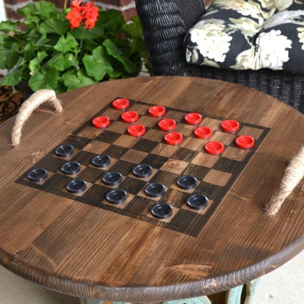 Reversible Checkerboard Wooden Tray - Sondra Lyn at Home Thumbnail