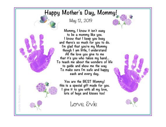 """A Mommy Like You Handprints Poem 8""""x10"""" Print Birthday Mother's Day Christmas KEEPSAKE Gift for Mommy from Baby Child's Hand Prints"""