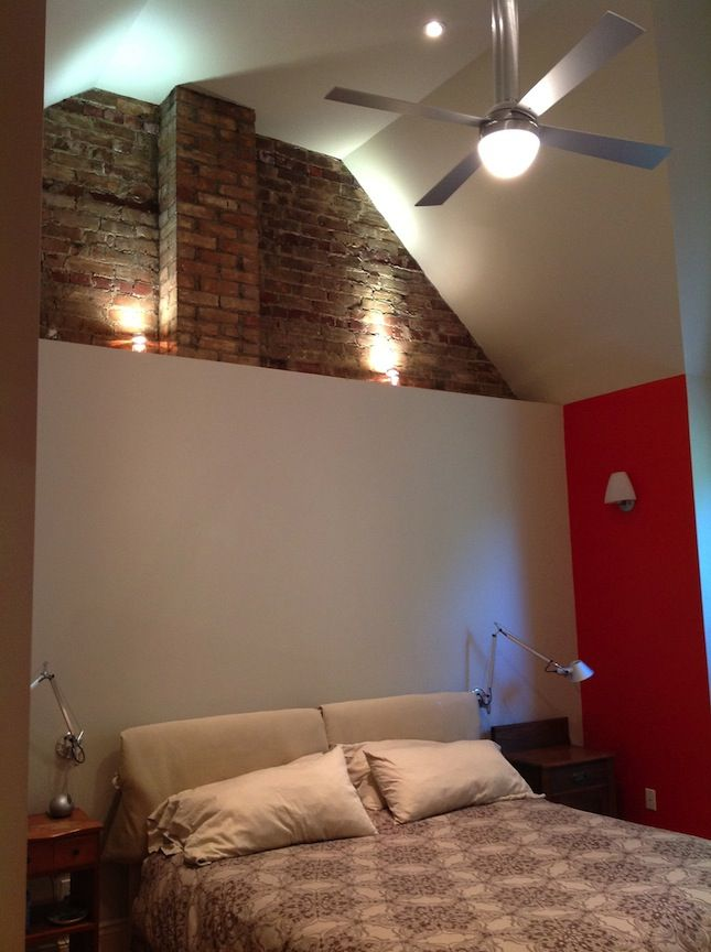 Best Master Bedroom With Exposed Brick White And Red 400 x 300