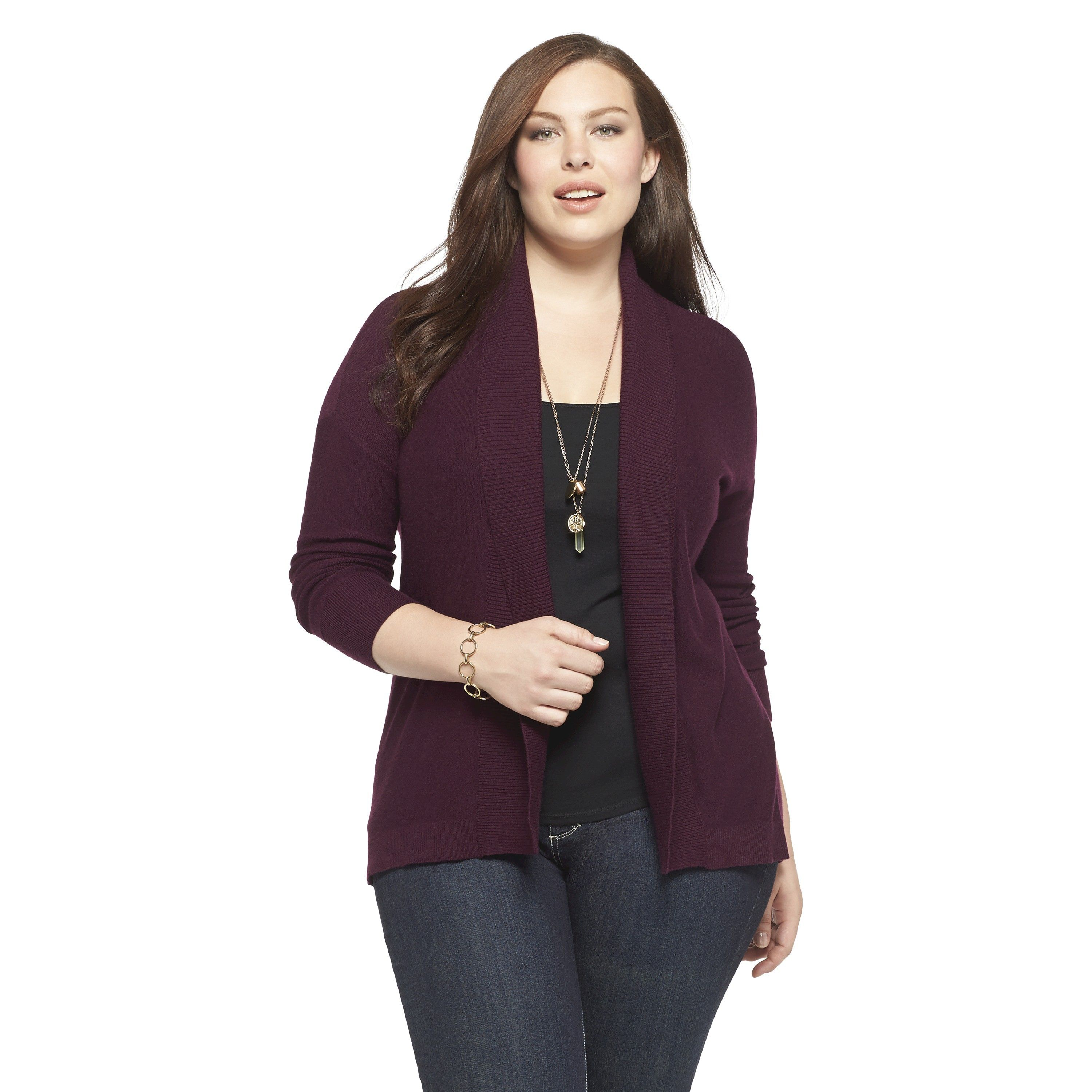 Women's Plus Size Open Front Cardigan Sweater - Pure Energy