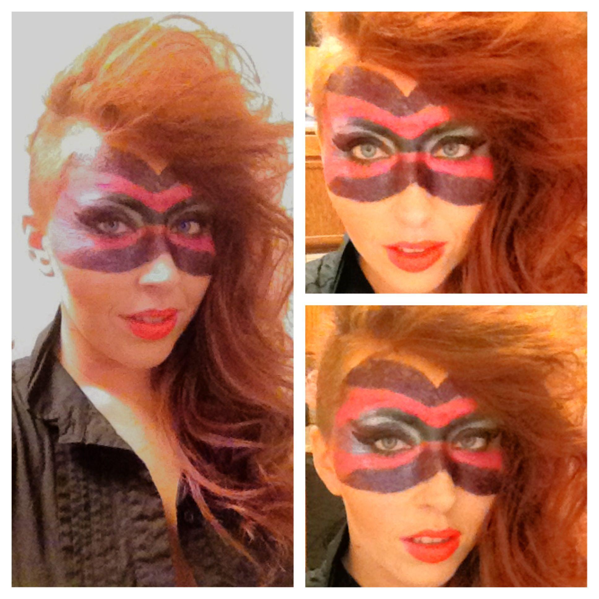 Long hairside shavedFaux hawk Masquerade mask make up