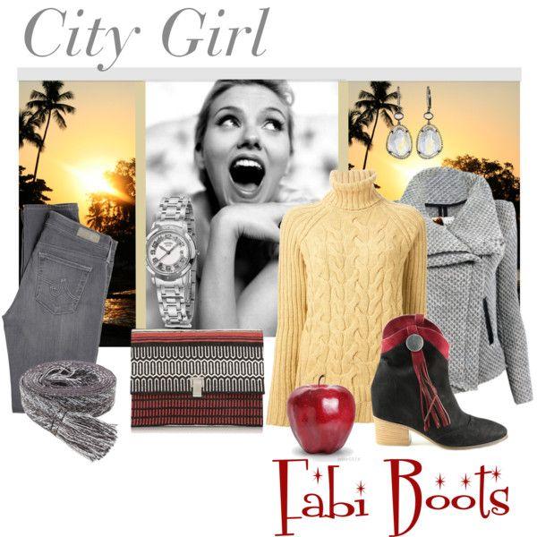 """City Girl: Fabi Boots"" by melange-art on Polyvore"