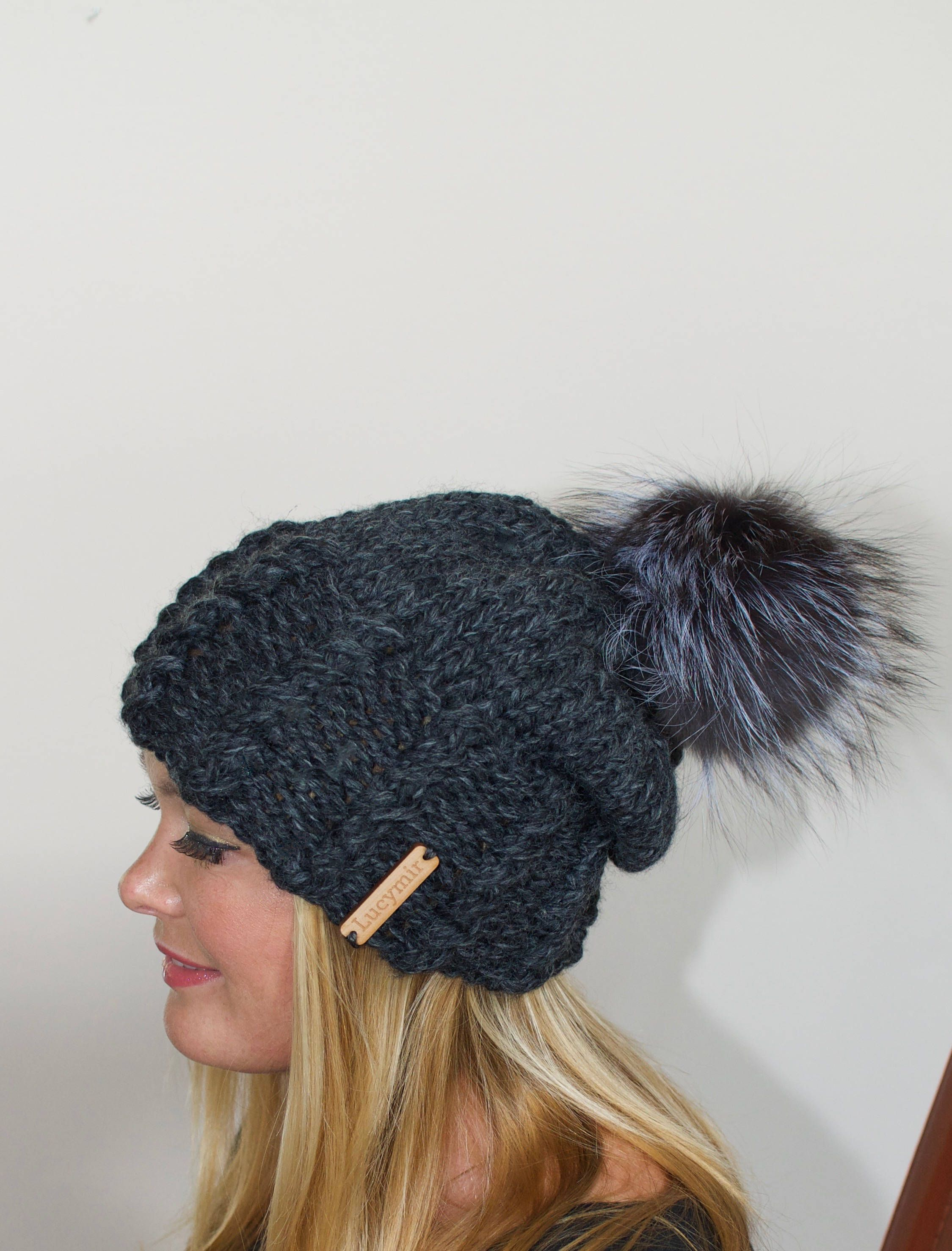 cefc0a660cd8ea Pompom Beanie Fur Pompom Slouchy Beanie Hat Chunky Women Hat Winter Hat  CHOOSE COLORS Charcoal Gray Chunky Knit Hat Christmas Gift under 100 by  lucymir on ...