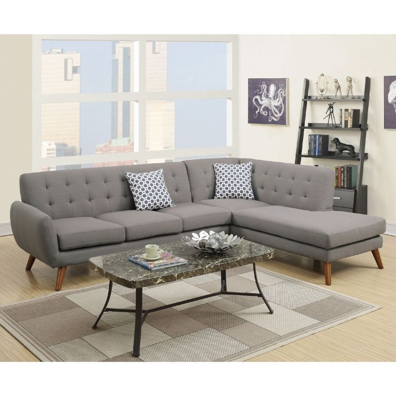 Barclay 4 Seat Linen Fabric Sofa Chaise Light Grey