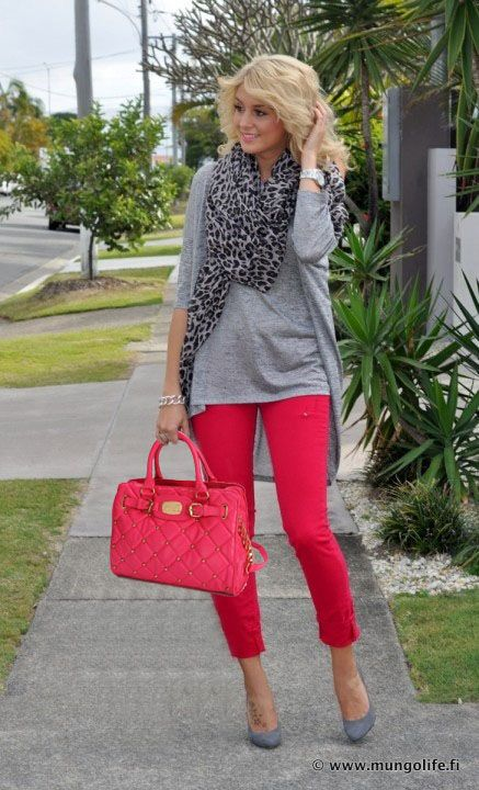 Take my cherry cropped pants into fall -Michael Kors red and grey ...