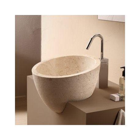 Vasque à poser ronde asymétrique pierre naturelle beige Deco Rue - Meuble De Salle De Bain Sans Vasque