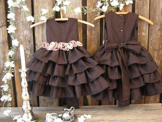 Fall flower girl dress. Girls thanksgiving dress. Chocolate flower ...