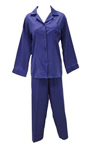 New Miss Elaine Navy Brushed Back Satin Long Two Piece Pajamas PM