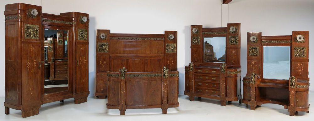 Intarsiertes Mahagoni Jugendstil Schlafzimmer mit Bronze Putten ...
