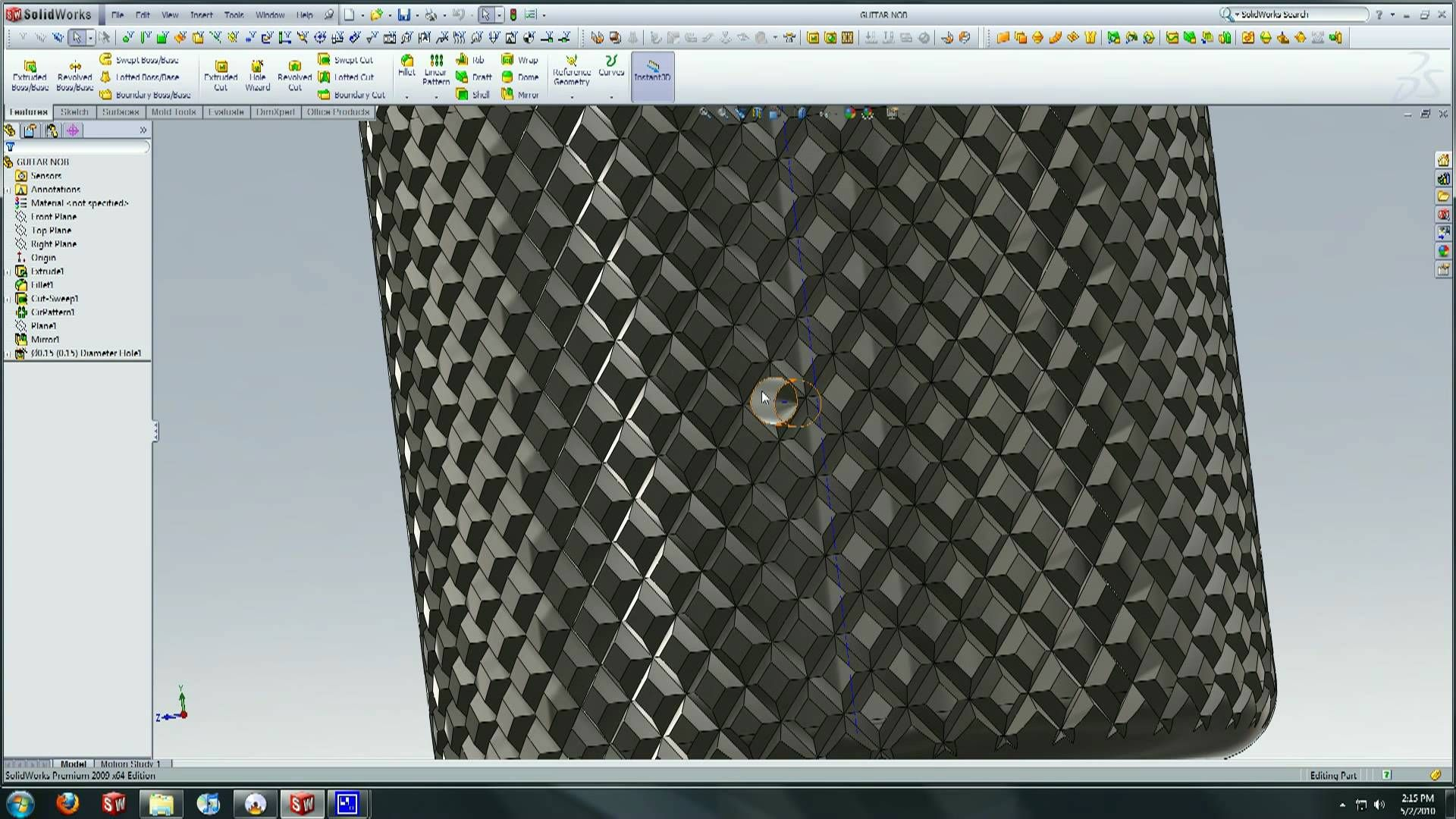 Solidworks tutorial creating a knurl surface watch design solidworks tutorial baditri Image collections