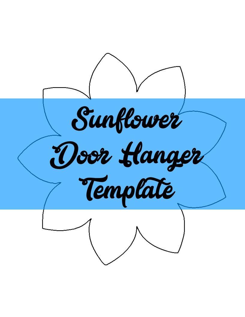 Sunflower Door Hanger Template Door Hanger Template Sunflower