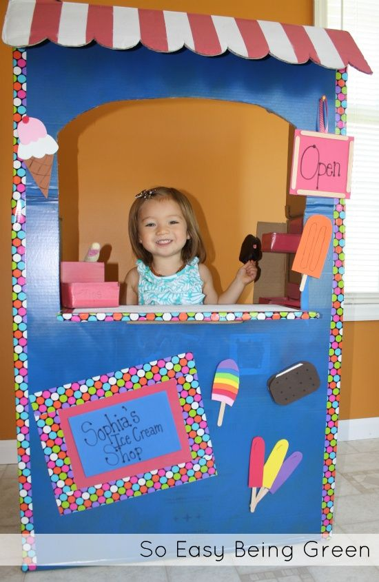 DIY Ice Cream Shop - Made out of a cardboard box.  Super easy and green! Crafts for Kids