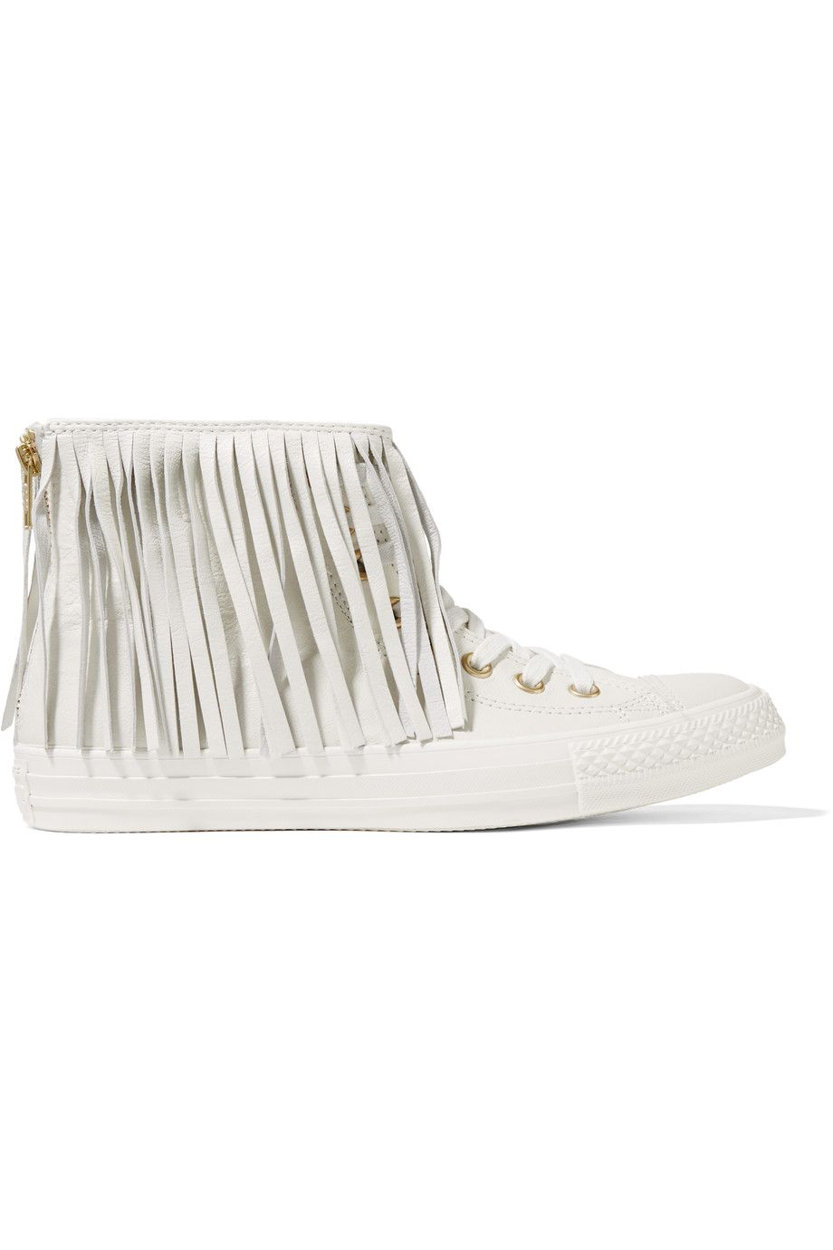 Converse Chuck Taylor All Star fringed leather sneakers.