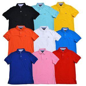 NWT Tommy Hilfiger Mens Polo Shirt Custom Fit New Men/'s S M L XL Short Sleeve