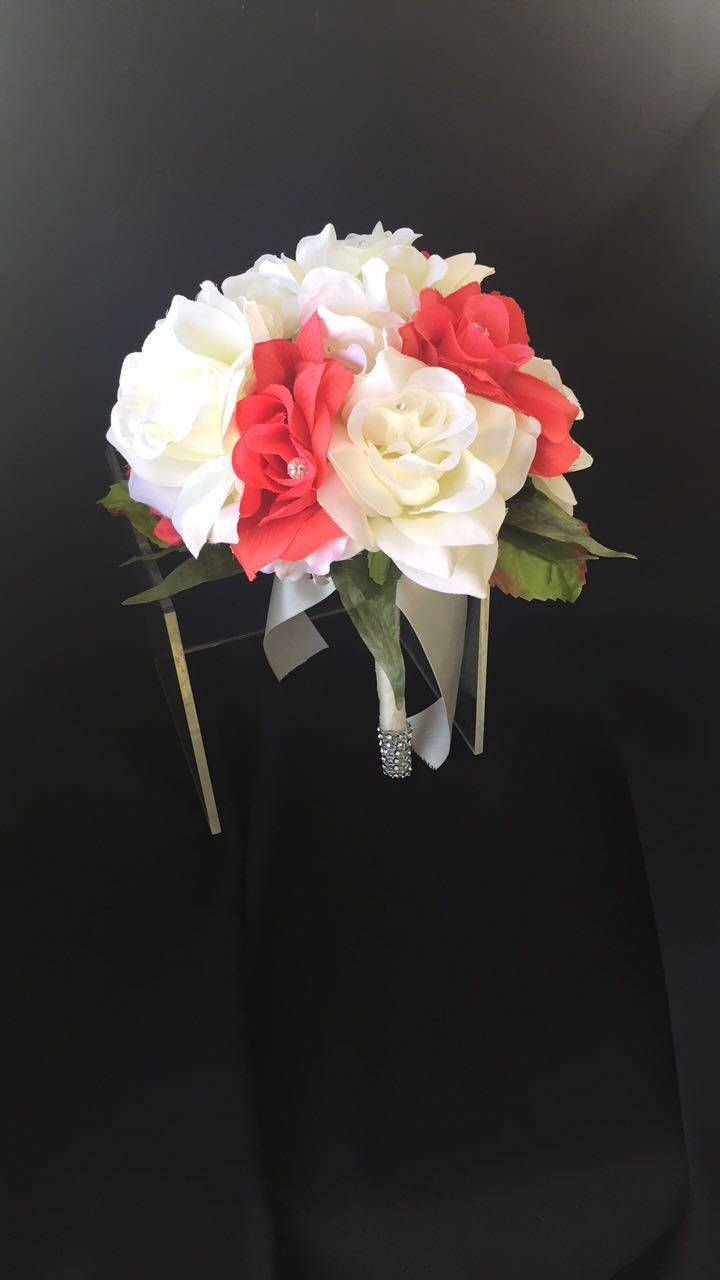 Wedding bouquets red and white roses  Coral and Ivory  Brides Bouquets  Pinterest  Ivory Bride