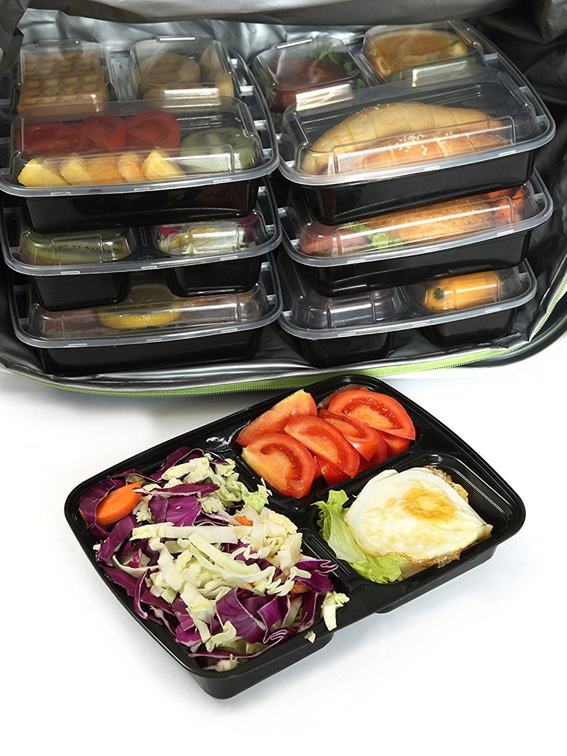 3 Compartment Microwavable Reusable Freezer Safe Meal Prep Food