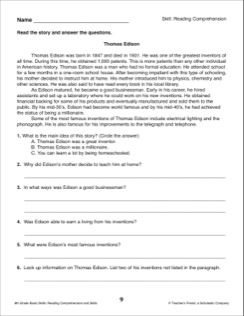 Thomas Edison Reading Passage And Comprehension Questions 6th