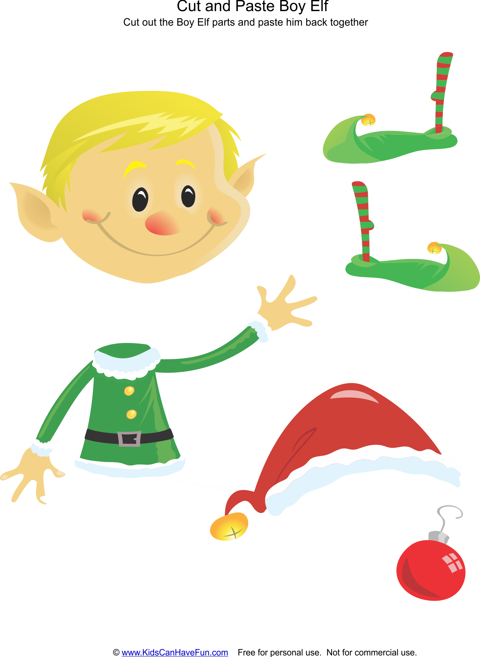 Cut And Paste Christmas Boy Elf Activity