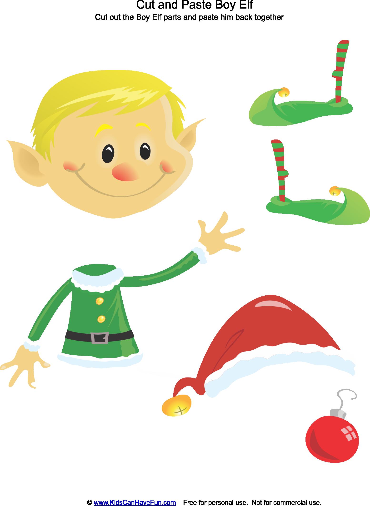 Cut And Paste Christmas Boy Elf Activity