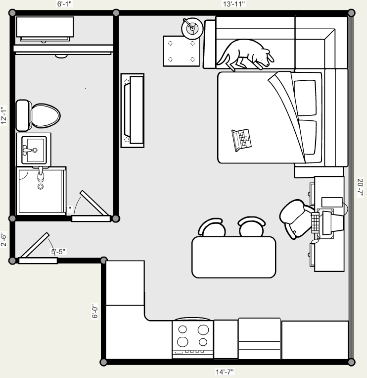 Studio apartment floor plan by x 5 4 5 2 person needs for Efficiency apartment floor plans