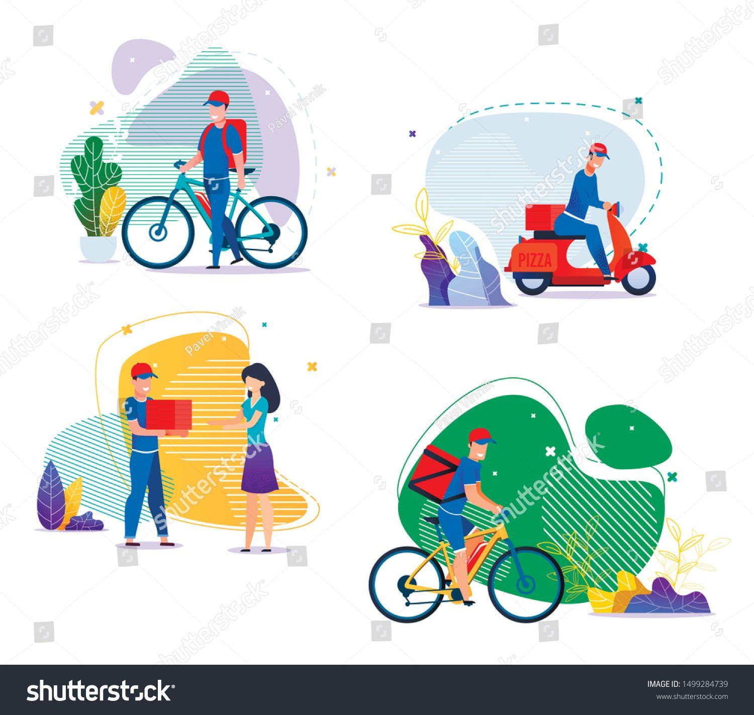 Food Groceries Goods Delivery Services Flat Set Cartoon Man Courier Character Cartoon Character Courier Delivery Fla Cartoon Man Cartoon Custom Moped