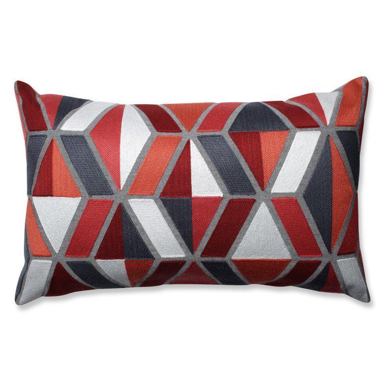 Darby Coral Grey Rectangular Throw Pillow 599298 Orange Throw