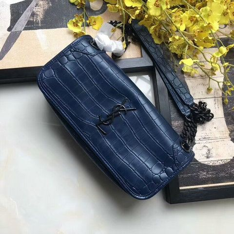 4784e67666d9  YSL BAGS 2018 Saint Laurent Small Niki Chain Bag in navy blue Crocodile  Embossed Leather