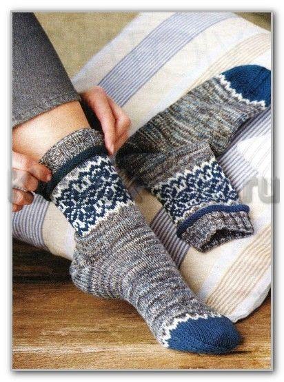 Вязание спицами носков. Схемы