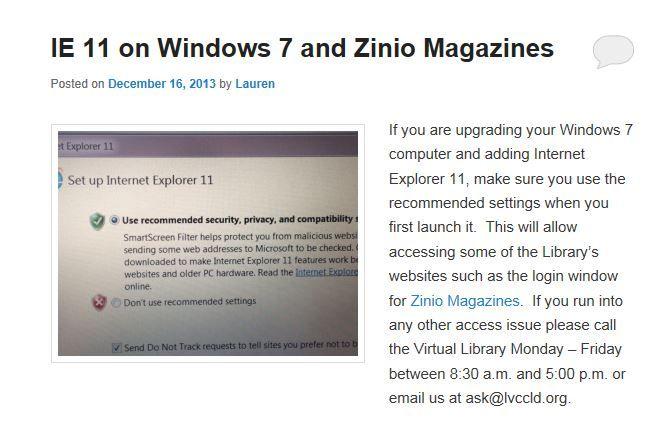 Zinio setup and IE 11  LVCCLD | Zinio eMagazines - WOW