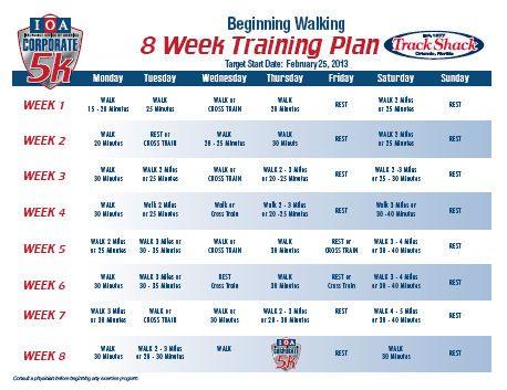 beginning walking 8 week training program for the