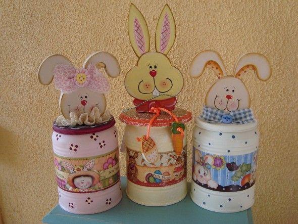Artesanato Da Maria Figueiredo ~ Artesanato para páscoa com material reciclado 010 Easter Pinterest Latas, Conejo y Trucos