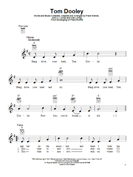 Download Ukulele Sheet Music To Tom Dooley By Kingston Trio And