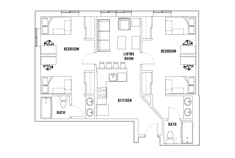 2 Bed 2 Bath Shared University Pointe At College Station Student Housing Portland Or College Station Apartment Architecture Student Apartment
