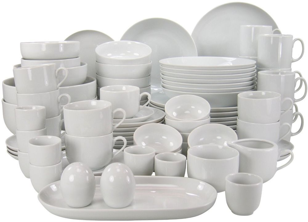 White Porcelain Dinner Set Tableware 80 Pc Ceramics Crockery Service Stoneware