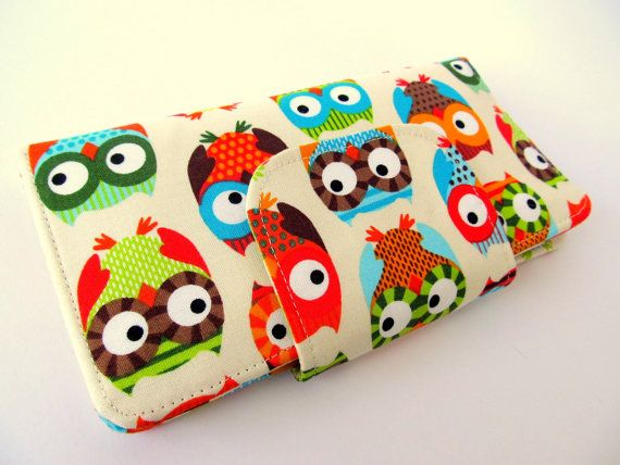 Fabric wallet Owl colourful Clutch wallet by LuckyCatHandmade, €25.00