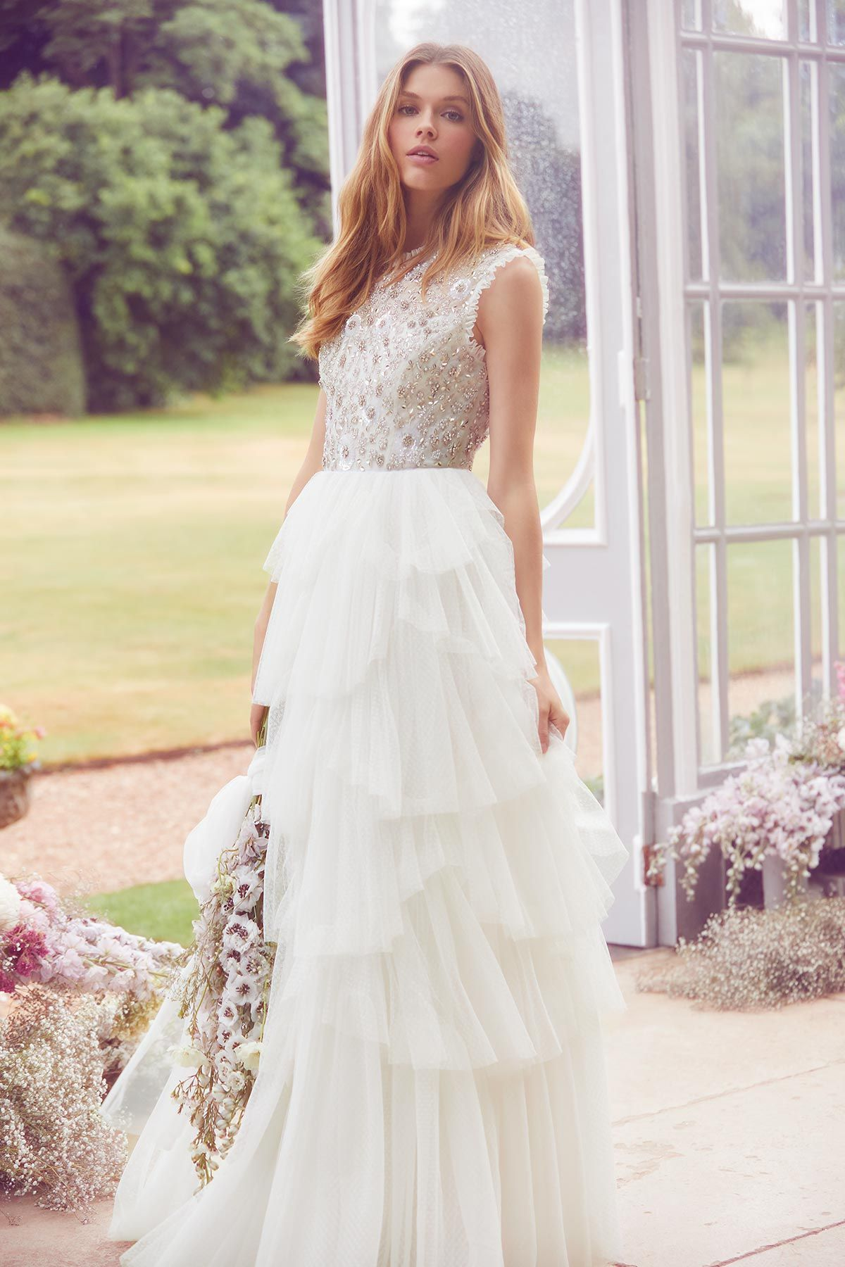 Scalloped Tiered Sleeveless Gown Ivory Ss19 Bridal Collection