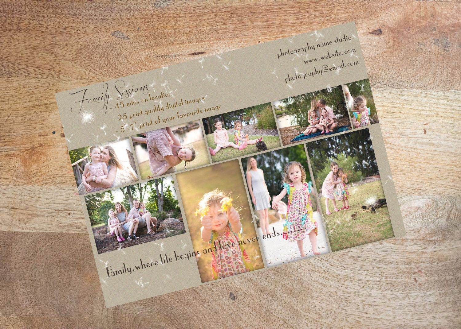 Family Session Marketing Flyer Photoshop Template, INSTANT ...