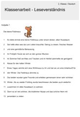 Klassenarbeit zu Leseverständnis | Deutsch | Pinterest ...