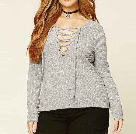 b1b291263b1 Deep v neck lace up sweater for women gray plunging neckline tops ...