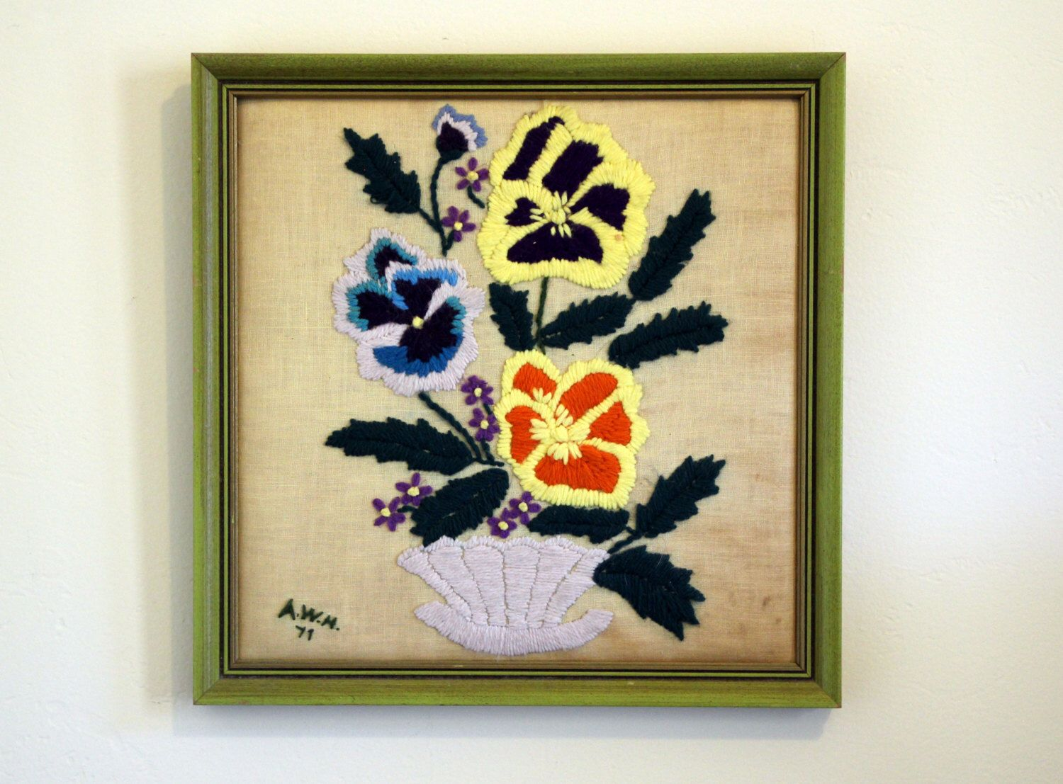 70\'s Vintage Pansy Flower Embroidery Wall Hanging by studioempathy ...
