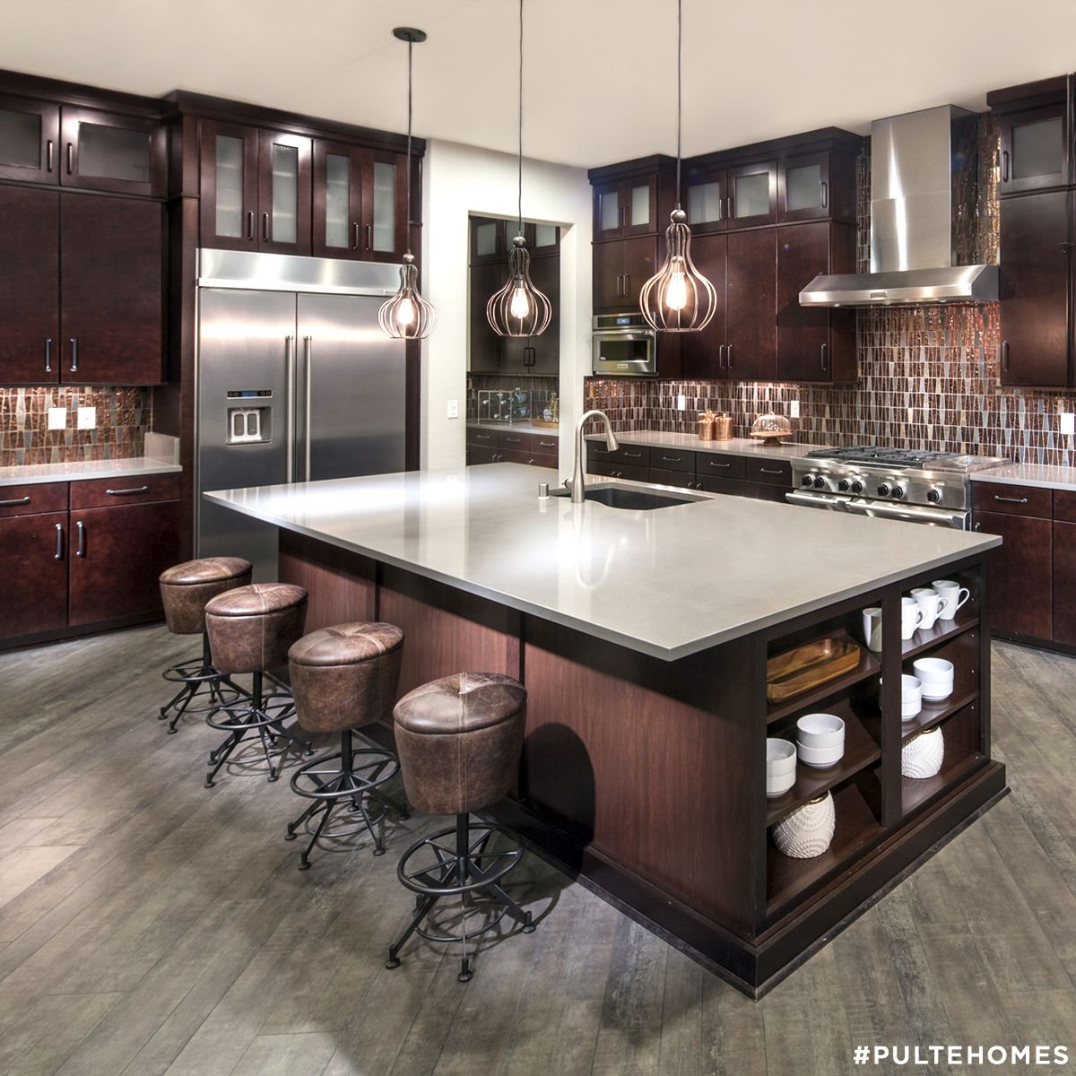 Best Rich Brown Hues Make This Modern Kitchen Feel Warm And 400 x 300