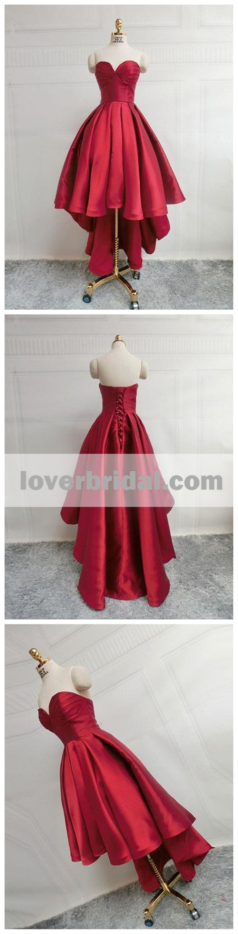 Simple cute dark red high low cheap homecoming dresses cm