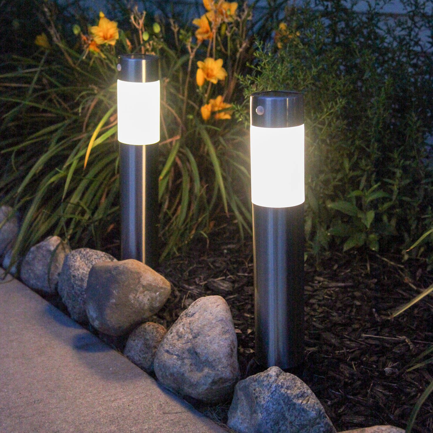 Frosted Warm White Stainless Steel Solar Garden Columns Set Of 2 Solar Lights Garden Solar Powered Garden Lights Solar Landscape Lighting