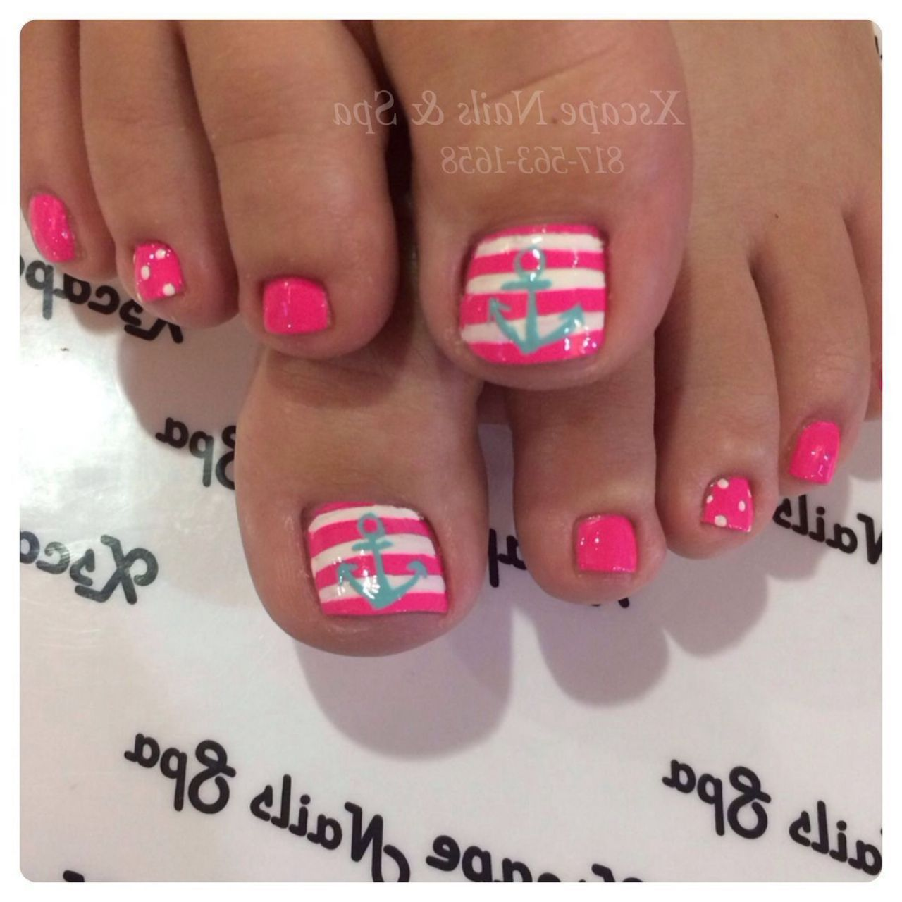Mani pedi - Beach - Pink-white With Anchor Pedicure Ideas Pinterest Pink