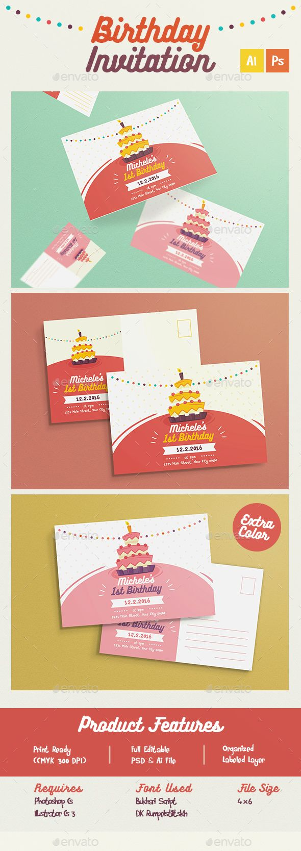 Colorful birthday invitation card template psd vector ai design colorful birthday invitation card template psd vector ai design download httpgraphicriveritemcolorful birthday invitation 14065079refksioks stopboris Image collections