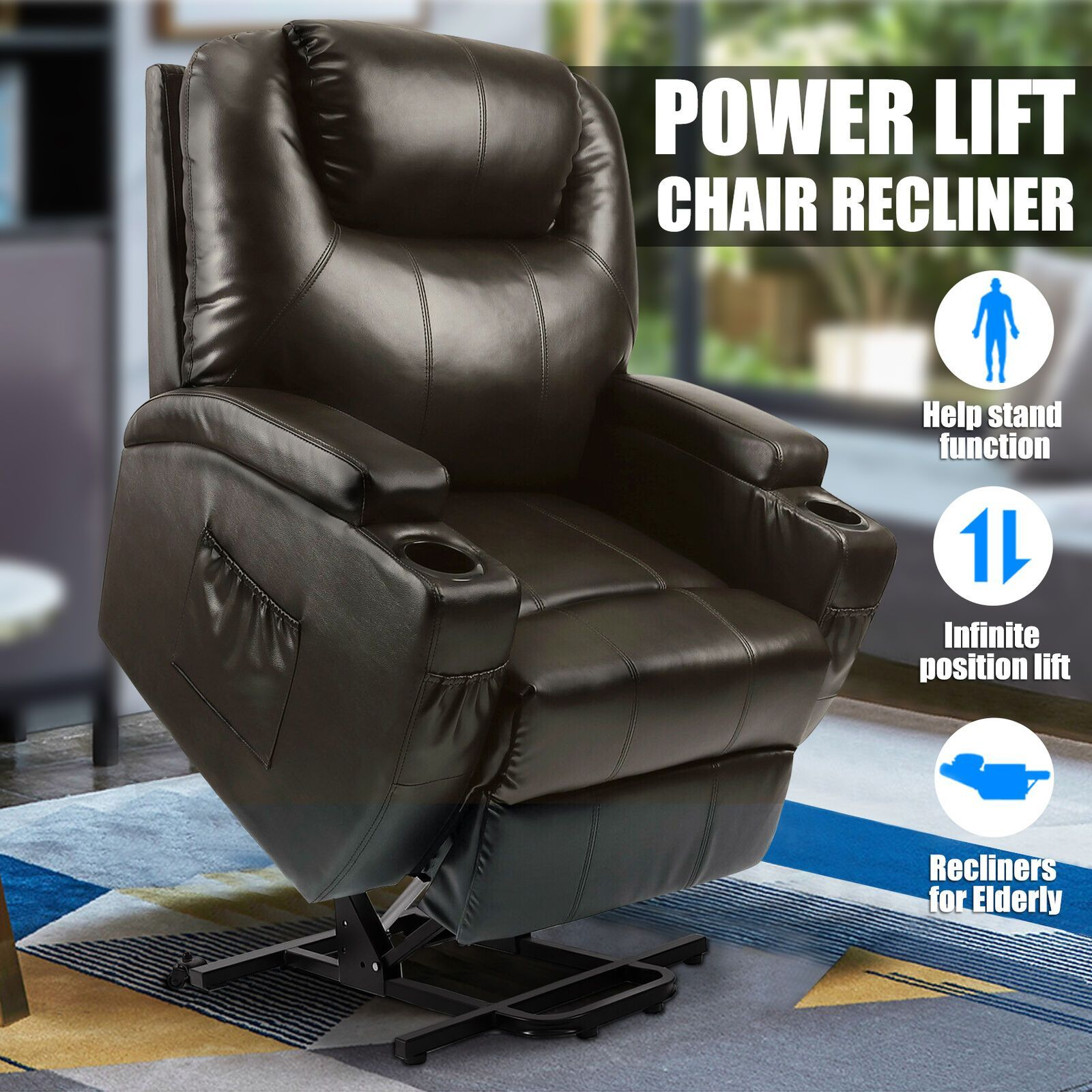 Power Lift Chair Recliner Armchair Sofa Real Leather